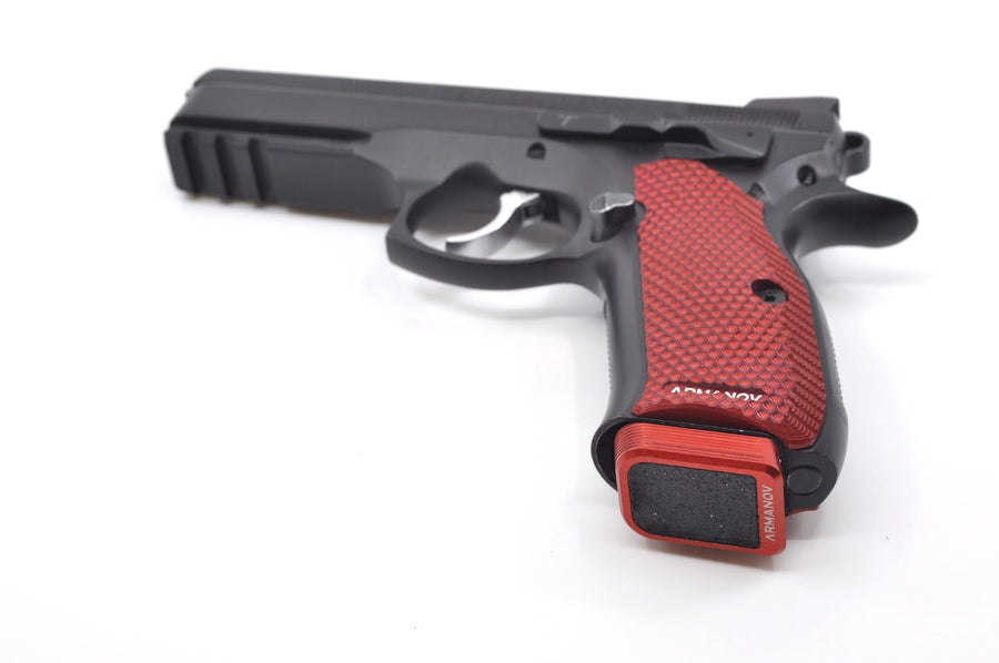 Red floor plate on a CZ handgun