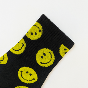 Black Embroidered Happy Ankle Socks Detail