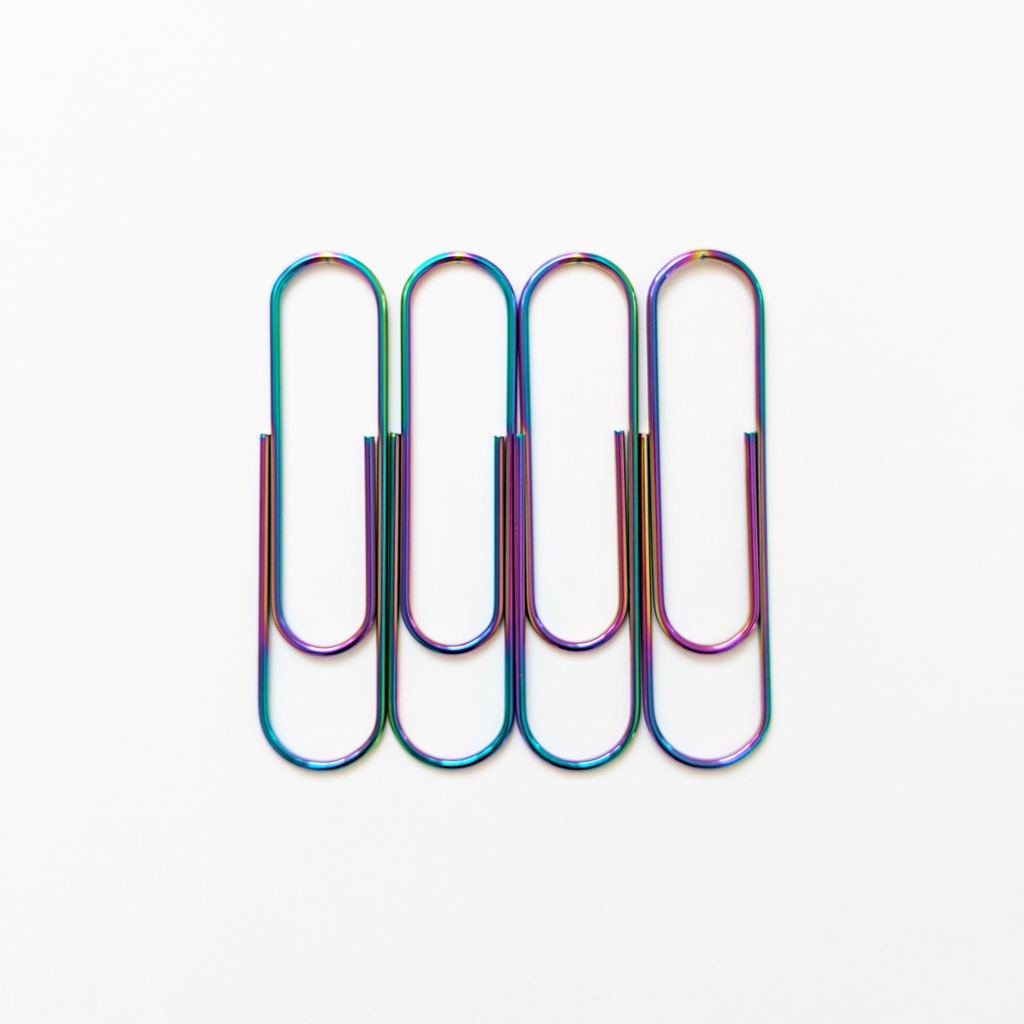 Rainbow Iridescent Large Paper Clips