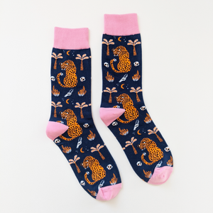 Embroidered Leopard Party Socks (Navy/Pink)