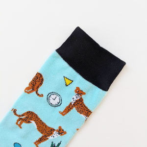 Cheetah Embroidered Socks