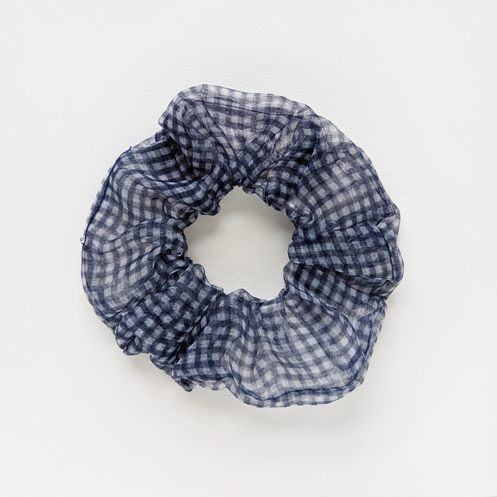 Organza Check Scrunchie in Navy | The Naked Desk