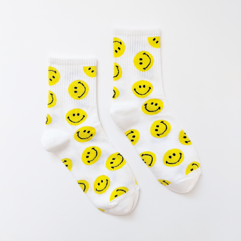 White Embroidered Happy Ankle Socks