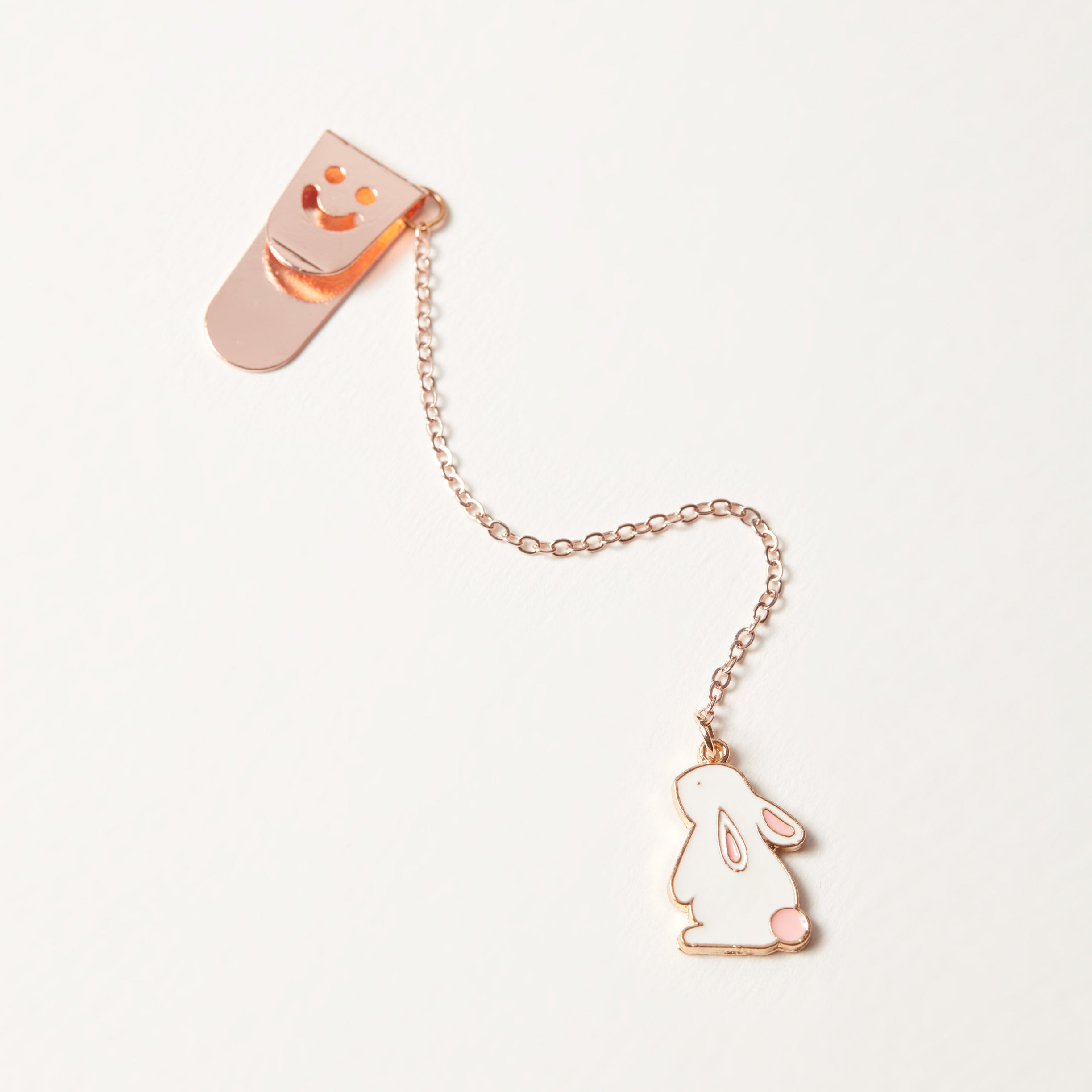 Full view enamel bunny charm bookmark