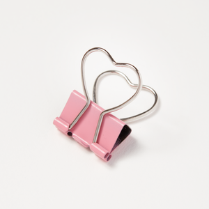 Pink Heart Bulldog Clips