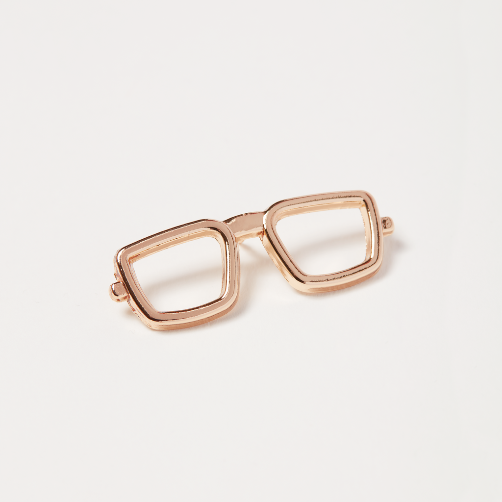 Metal Gold Rimmed Glasses Pin