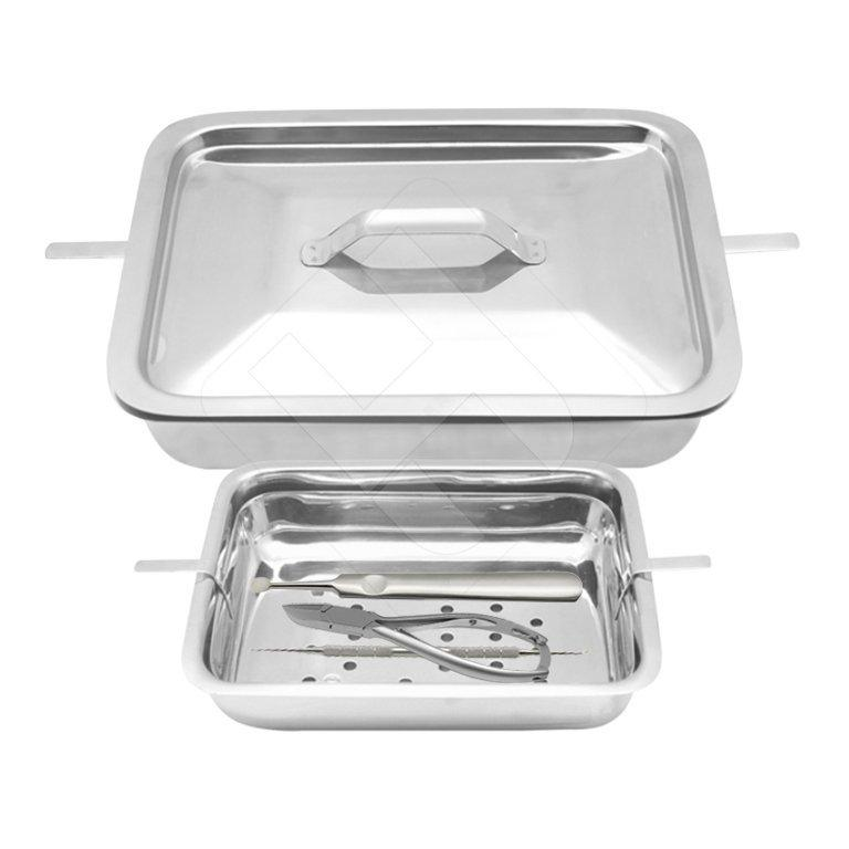 Professional Stainless Steel Intruments Sterilization Tray With Lid - HugeCARE Srl