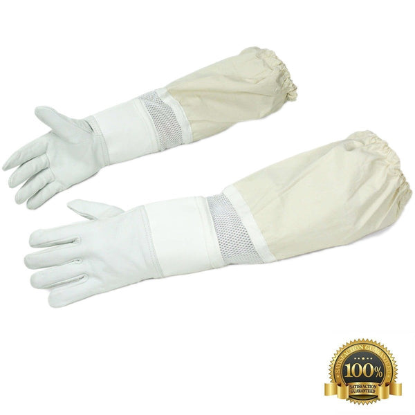Ventilated Beekeeping Goatskin Leather Gloves with Long Sleeves - HugeCARE Srl