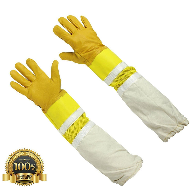 Children's Ventilated Beekeeping Leather Gloves with Long Sleeves - HugeCARE Srl