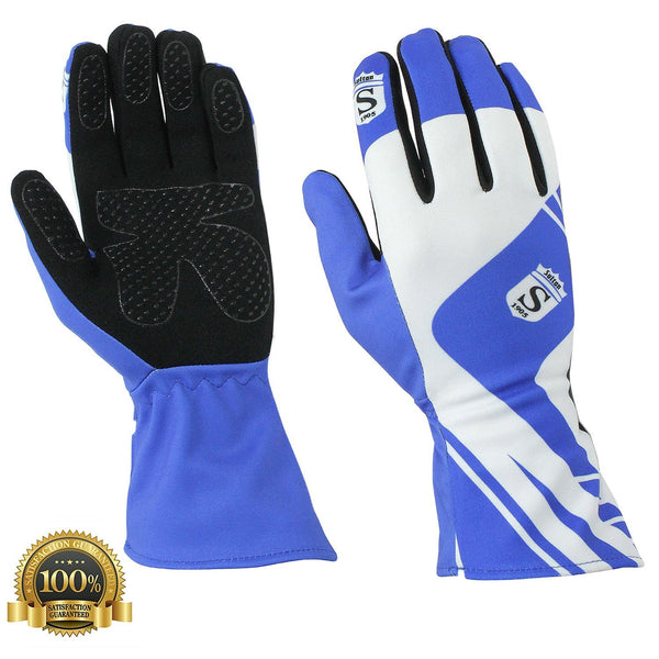Long Kart Racing Blue Gloves Velcro - HugeCARE Srl