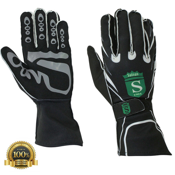 Long Kart Racing Black Gloves Velcro - HugeCARE Srl