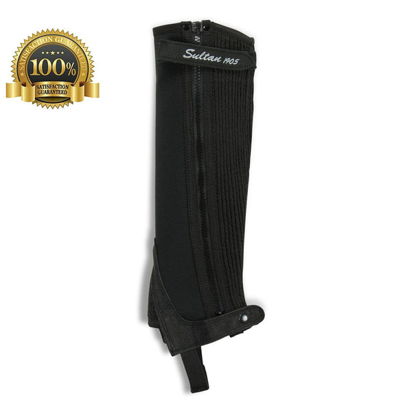 Neoprene Half Chaps Made Of Black Neoprene - HugeCARE Srl