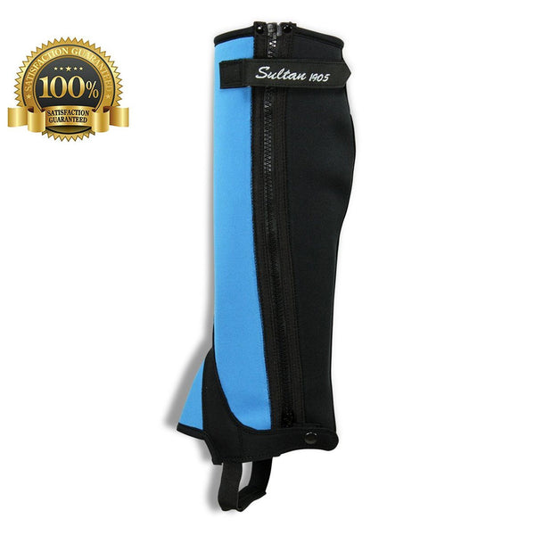 Half Chaps Horse Riding Simple Made Of Blue Neoprene - HugeCARE Srl