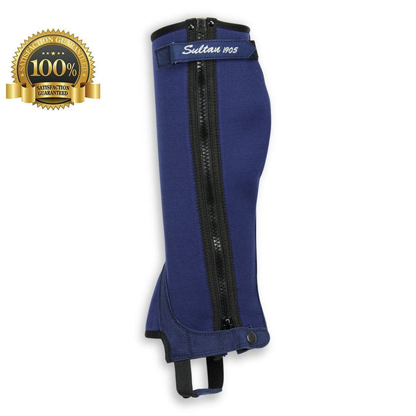 Horse Riding Half Chaps Made Of Black Neoprene and Black Amara - HugeCARE Srl