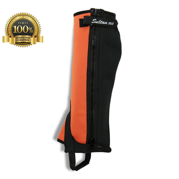 Horse Riding Simple Half Chaps Made Orange Neoprene With Black Amara - HugeCARE Srl