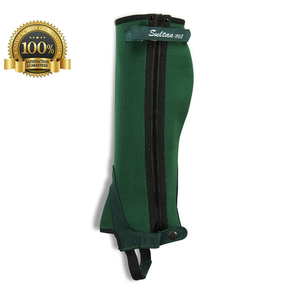 Horse Riding Chaps Simple Half Chaps Made Of Green Neoprene - HugeCARE Srl