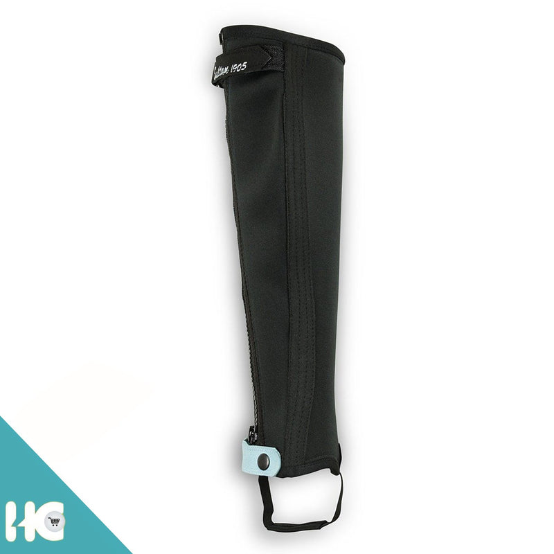 Horse Riding Half Chaps Made Of Black Neorpene + Black Amara Two Tone - HugeCARE Srl