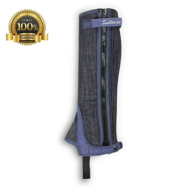Horse Riding Denim Half Chaps Made Of Blue - HugeCARE Srl