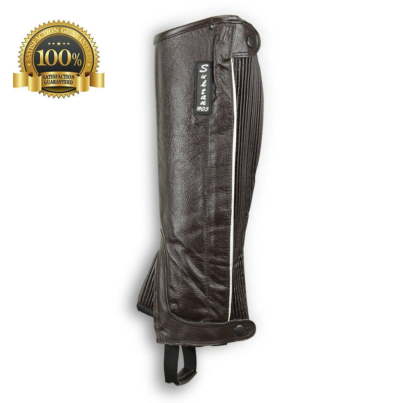 Horse Riding Leather Half Chaps Made Of Brown Leather With V-Line - HugeCARE Srl