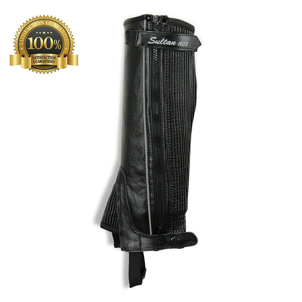 Horse Riding Leather Half Chaps Made Of Black Leather With V-Line - HugeCARE Srl