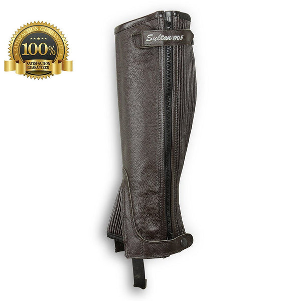 Horse Riding Gaiters Half Chaps Made Of Black Leather - HugeCARE Srl