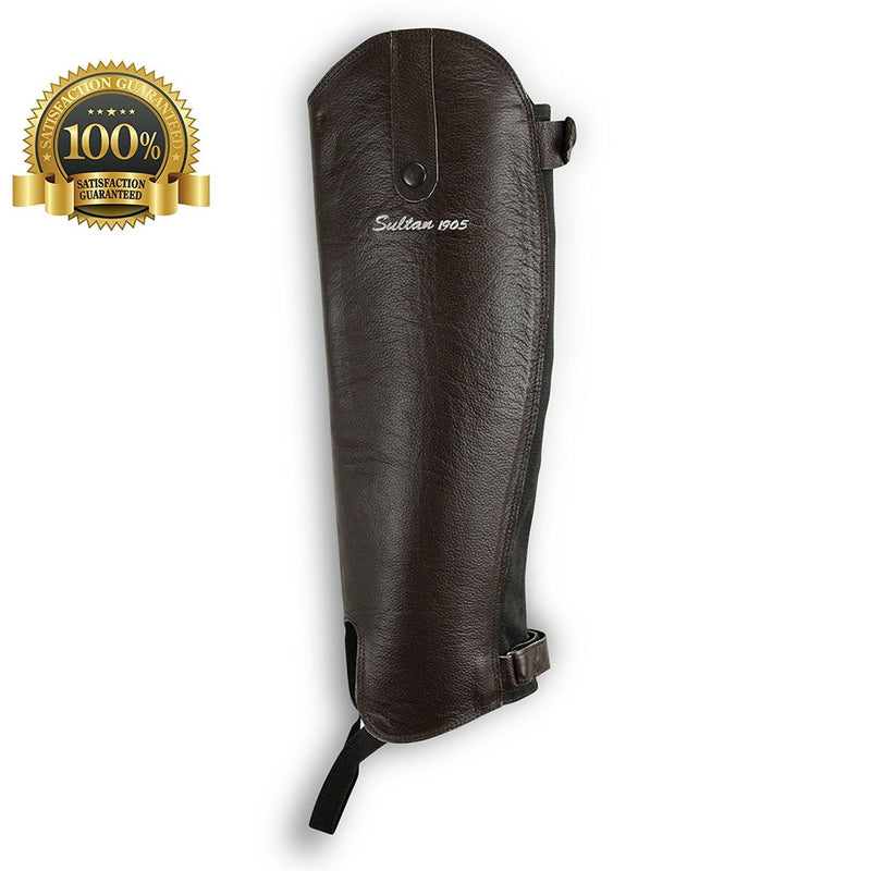 Horse Riding Gaiter Half Chaps Made Of Brown Leather - HugeCARE Srl