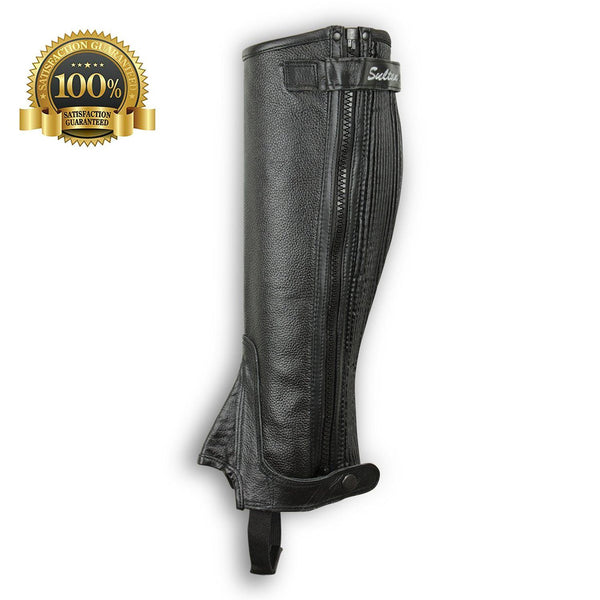 Leather Half Chaps Made Of Black Leather - HugeCARE Srl