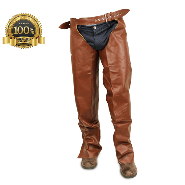 Full Chaps Horse Riding Made Of Light Brown Leather - HugeCARE Srl
