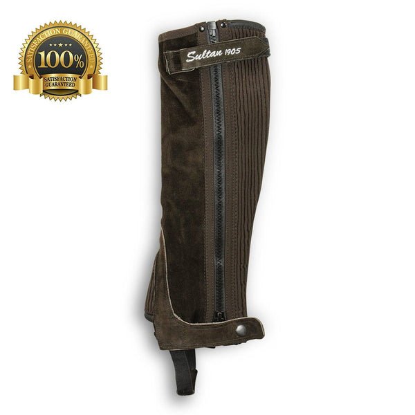Suede Leather Half Chaps Simple Made Of Brown Suede Leather - HugeCARE Srl