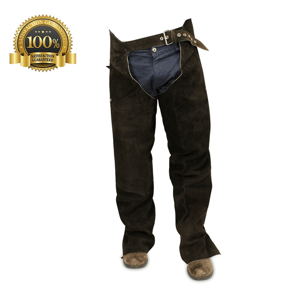 Suede Leather Full Chaps Made Of Brown Suede Leather - HugeCARE Srl