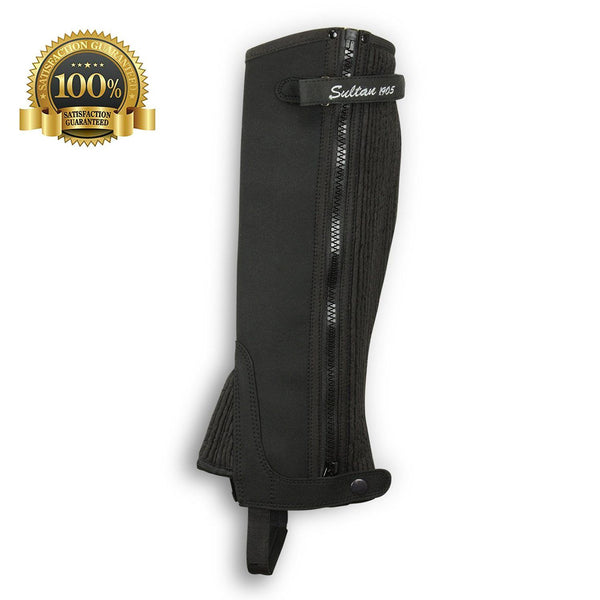 Synthetic Leather Half Chaps Made Black Amara - HugeCARE Srl
