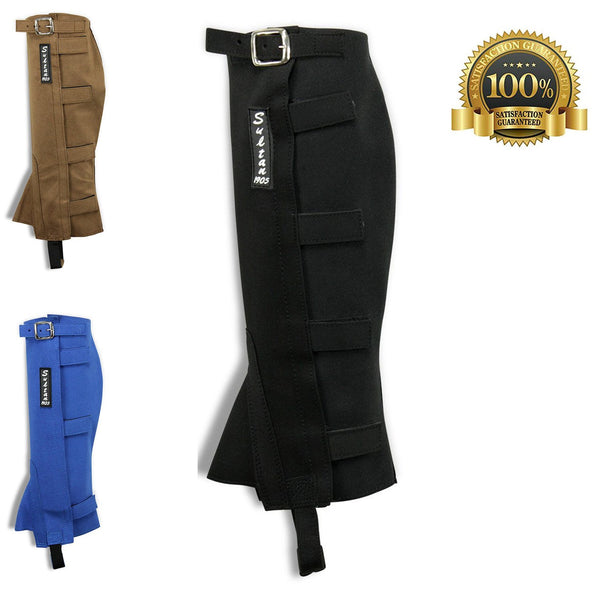 Half Chaps Horse Riding Synthetic Leather Simple Made Of Black Amara - HugeCARE Srl