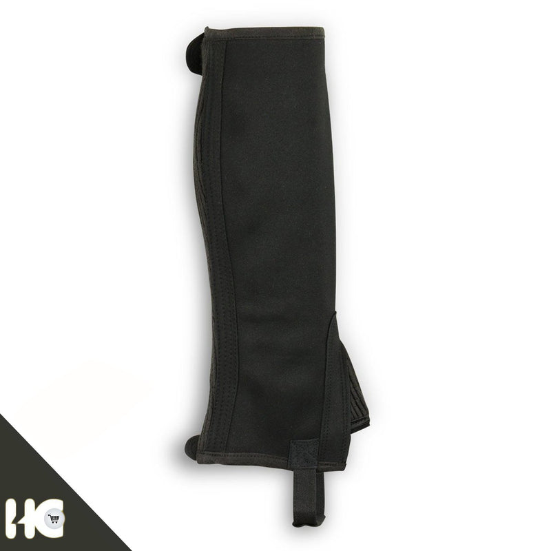 Horse Riding Half Chaps Made Of Black Amara Synthetic Leather With V-Line - HugeCARE Srl