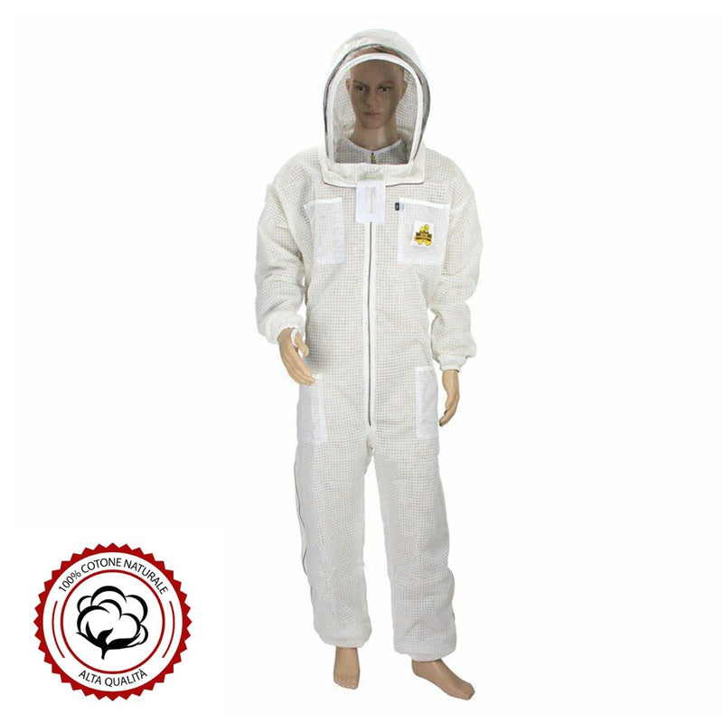 High-Quality Ventilated Beekeeping Suit with Round Veil - HugeCARE Srl
