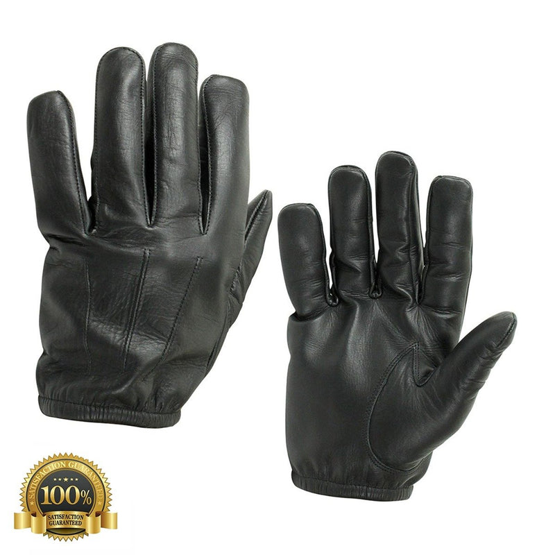 High-Quality Resistant Black Leather Police Cop Duty Gloves - HugeCARE Srl