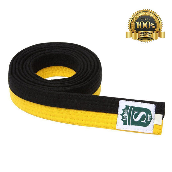 Premium Martial Arts Bicolor Belt Split Length Black and Yellow - HugeCARE Srl