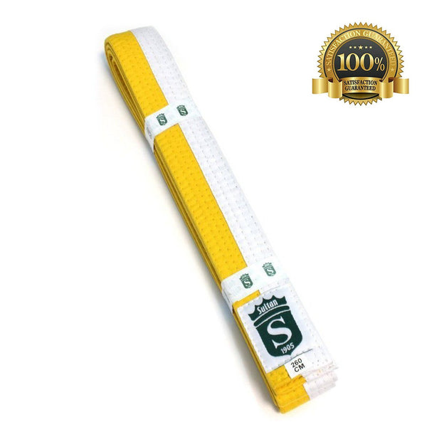 Premium Martial Arts Bicolor Belt Split Length Yellow and White - HugeCARE Srl