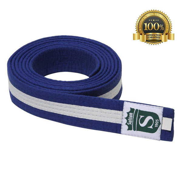 Premium Martial Arts Blue Belt with White Stripe - HugeCARE Srl