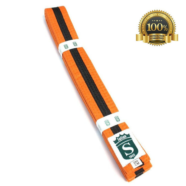 Premium Martial Arts Orange Belt with Black Stripe - HugeCARE Srl