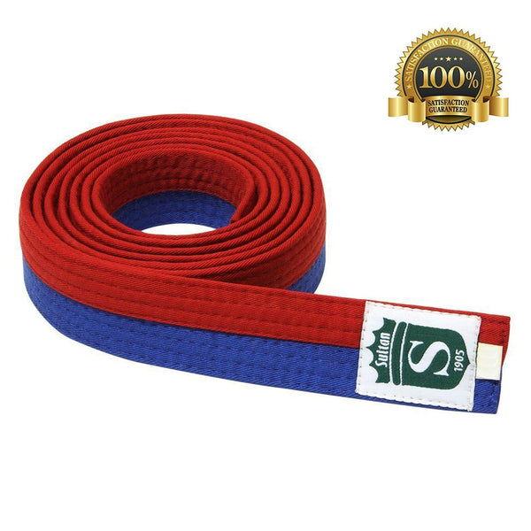Premium Martial Arts Bicolor Belt Split Length Blue and Red - HugeCARE Srl