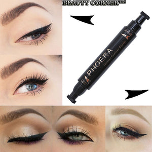 PHOERA Double End Seal Eyes Liner Black Liquid Make Up Pencil Waterproof Black Double-ended Makeup Stamps Eyeliner Pencil TSLM1