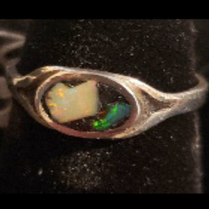 Opal Chip Mosaic Ring - Oval Split Shank Sterling Silver - CD20-CR0002