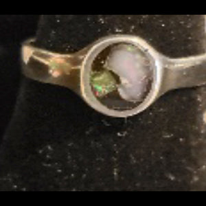 Opal Chip Mosaic Ring - Plain Band Sterling Silver - CD20-CR0003