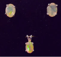 Facetted Opal Pendant and Earrings Set - RW-CD20-E0006