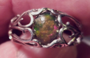 Crystal Boulder Opal Ring, Bright Level 4 Play of Colour in Sterling Silver - CD20-R009