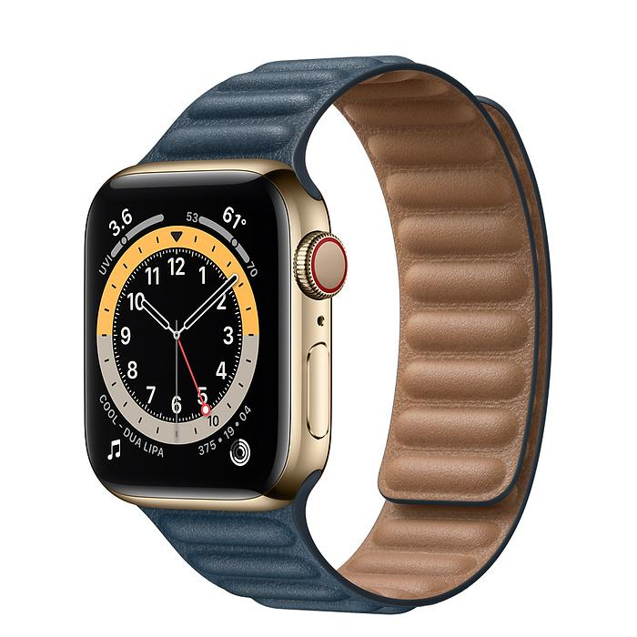 Apple Watch Series 6 Gold Stainless Steel Case with Leather Link (44mm,40mm GPS + Cellular) - iStock BD