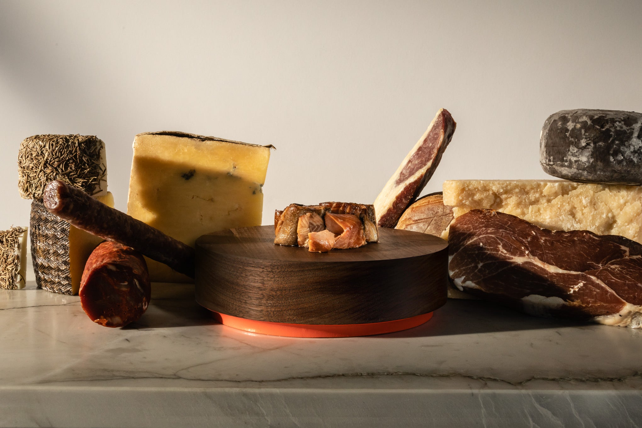 Conservas on wooden charcuterie board