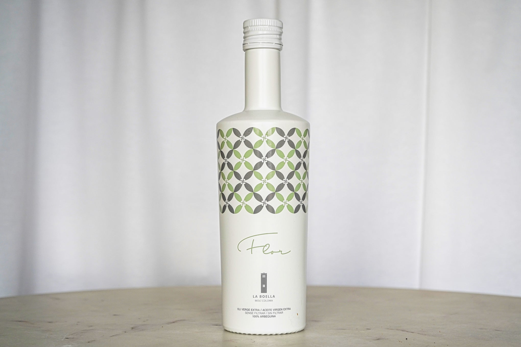 La Boella Flor Olive Oil in white bottle