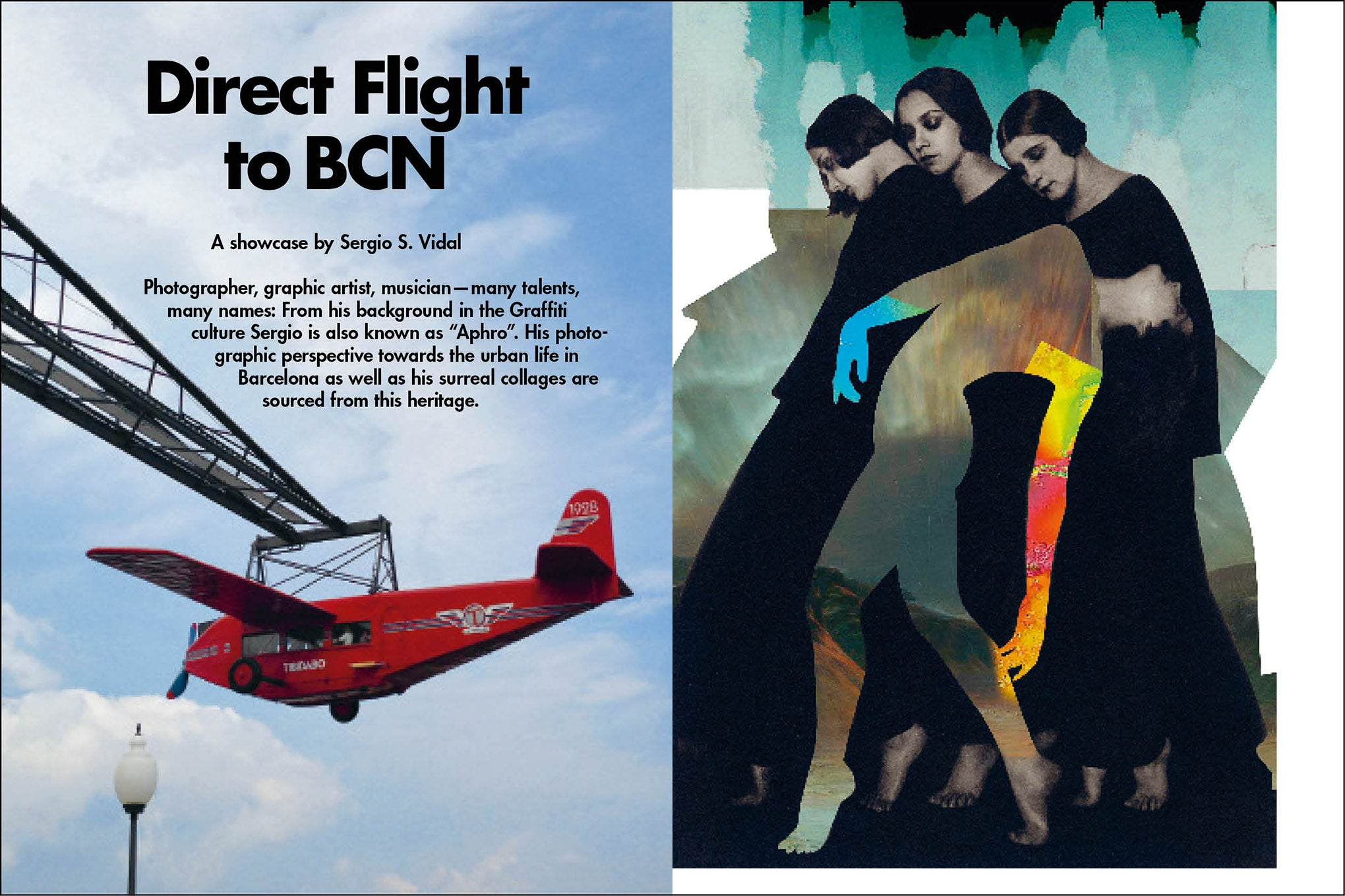 Plane in the sky, three women standing, and one woman bending backwards