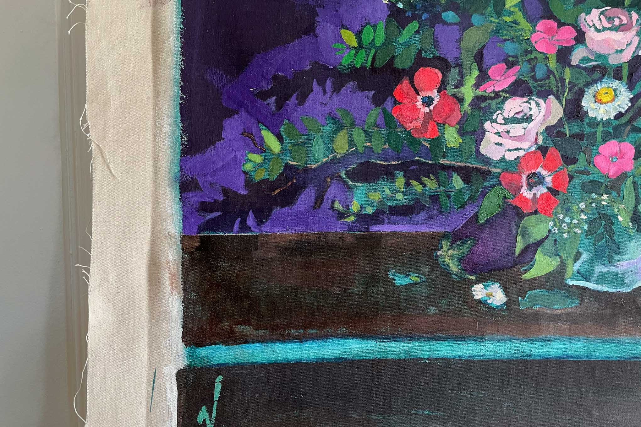 Left hand corner of the ripe painting with flowers